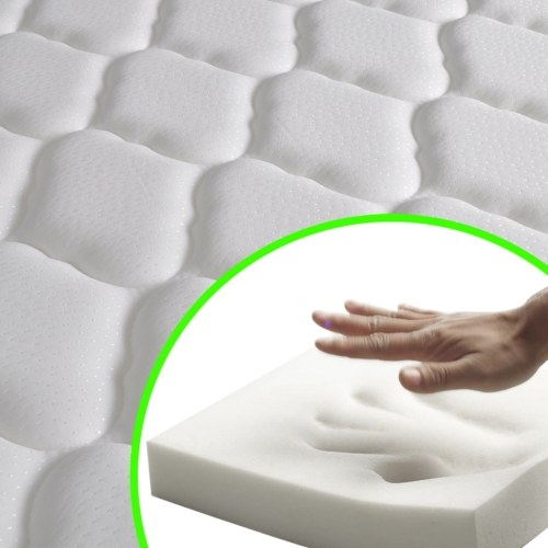 Светодиодная кровать Память Пена Матрац Синтетическая кожа Черный 180x200 см