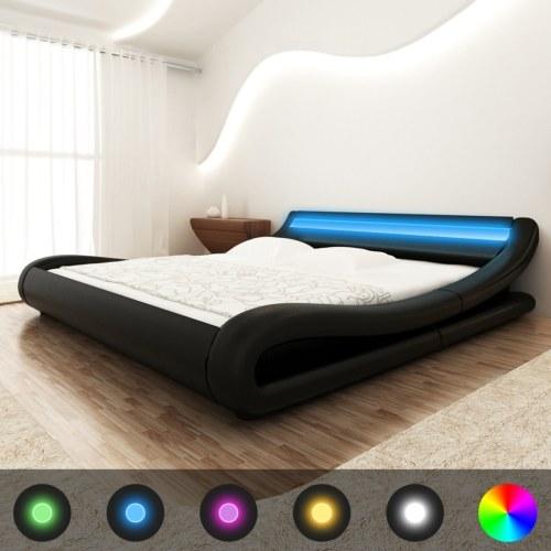 LED-кровать с черным синтетическим кожаным матрасом 180x200 см