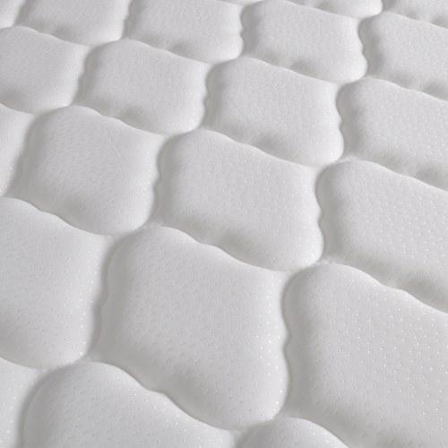 Aufbewahrungsbett aus weißem Kunstleder MemoryFoam 160x200cm