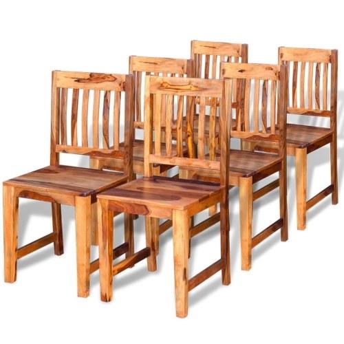 Cadeiras de jantar de madeira maciça Sheesham 6 pcs