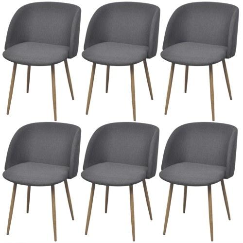 6 шт. Темно-серые стулья для столовой