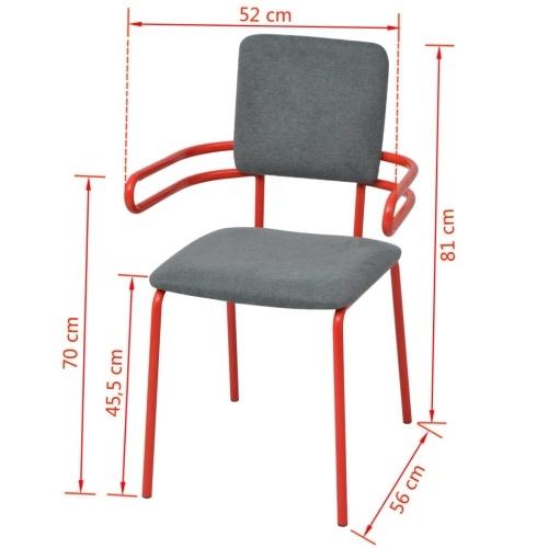 4 шт. Столовые стулья / Красные и серые кресла