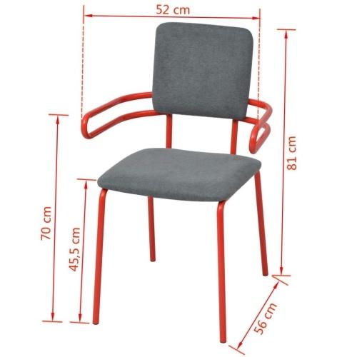 6 шт. Столовые стулья / Красные и серые кресла
