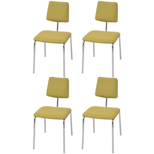 Набор 4 столовых стульев в зеленой ткани
