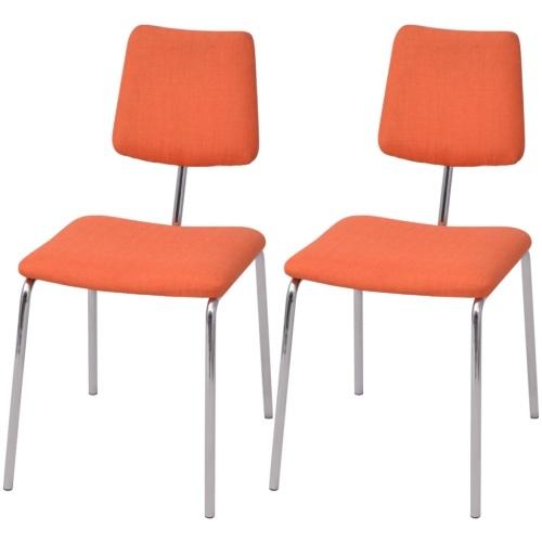 Набор 2 столовых стульев в оранжевой ткани