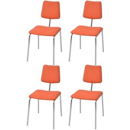 Набор 4 столовых стула в оранжевой ткани
