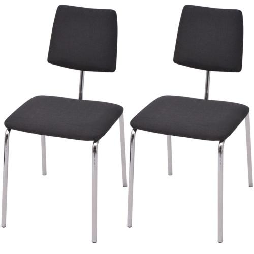 Комплект 2 стульев для столовой в черной ткани