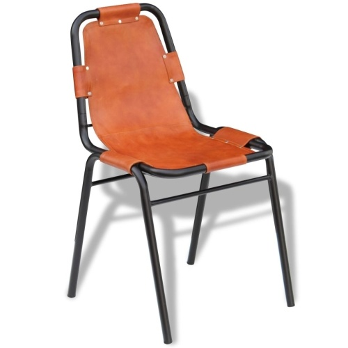 Столовые стулья 4 шт. Коричневый 59x44x89 см. Реальная кожа