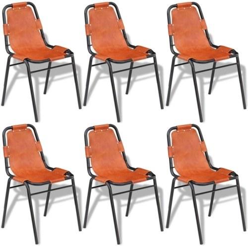 Столовые стулья 6 шт. Браун 59x44x89 см. Реальная кожа
