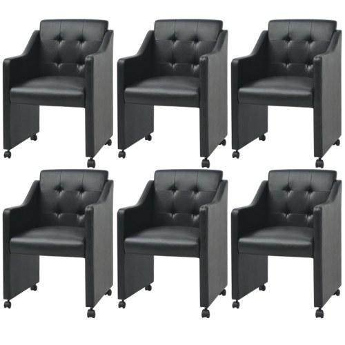 Столовые стулья 6 шт Черный 59x57.5x86.5 см