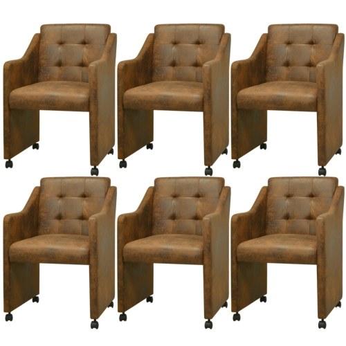Столовые стулья 6 шт Браун 59x57.5x86.5 см