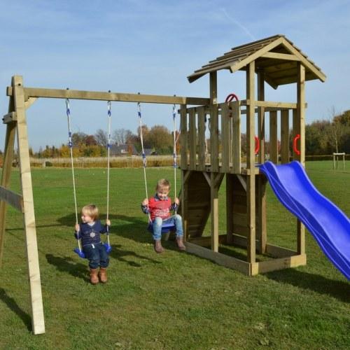wooden play set ladder slide swings 419x350x266 cm
