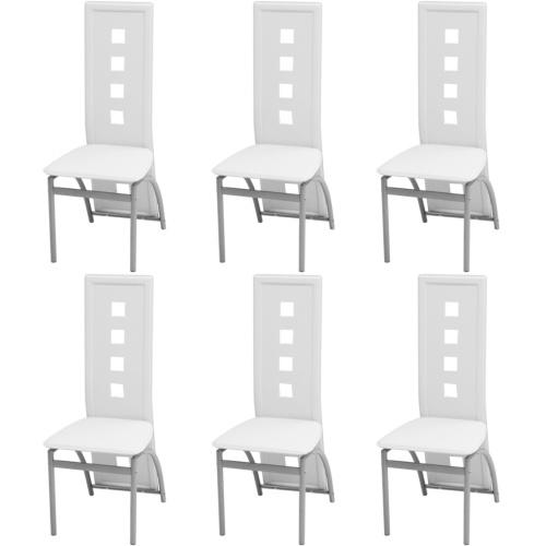 Обеденные стулья 6 шт. Белая искусственная кожа (243646 + 243647)