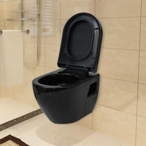 Подвесной туалет в черной керамике с промывкой