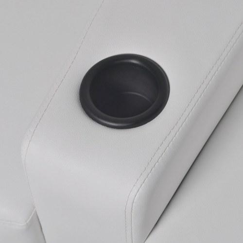 2 + 3posti Лежащий стул для кино со светодиодной искусственной белой кожей