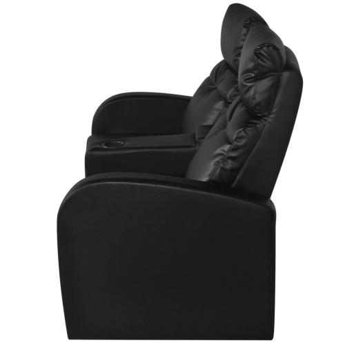 2 + 3-местный Лежащий стул для кино Black Искусственная кожа