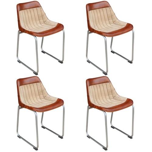 4-Piece Обеденный стул Комплект Подлинная Кожа Коричневый и Бежевый (2x243415)