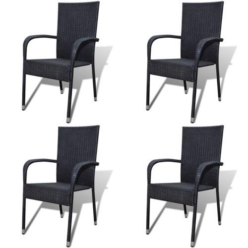 Обеденный комплект для садовых стульев 4 шт в черном полираттане