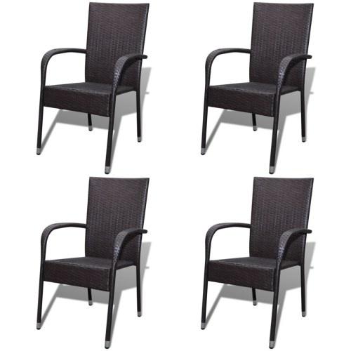Обеденные стулья для сада 4 шт. В коричневом полираттане