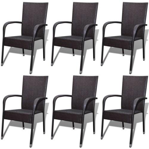 6 стульев для стульев PCS в коричневом полираттане