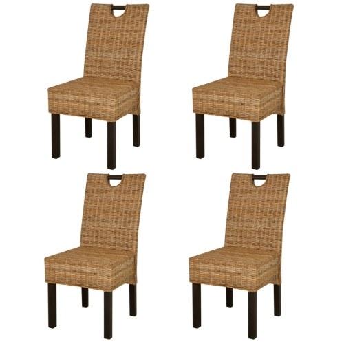 Столовые стулья 4 шт. В ротанге Kubu и Mango Wood (2x243638)