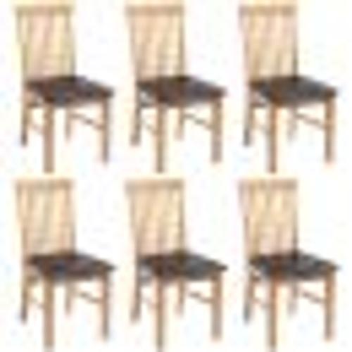 6 шт. Столовые стулья Дубовая деревянная искусственная кожа