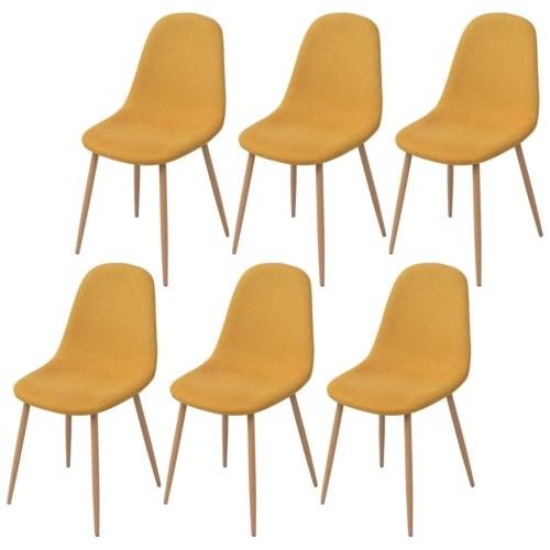 6 шт. Желтая ткань Стулья для столовой