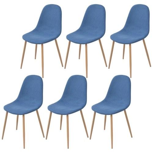 6 шт. Синяя ткань Столовые стулья