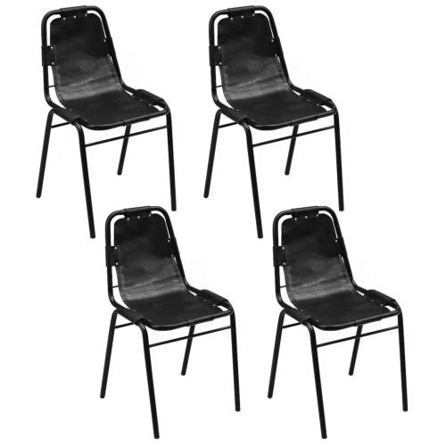Набор 4 стула для столовой 49x52x88 см в натуральной черной коже