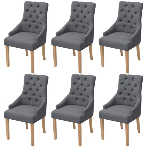 Шестиугольные обеденные стулья из 6 предметов в темно-серой ткани