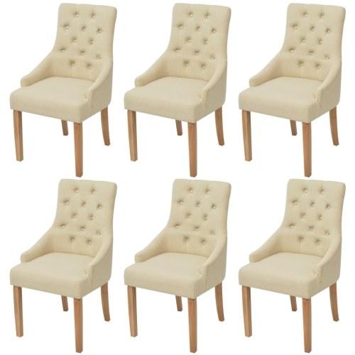 6 штук дубовых стульев в кремовой ткани