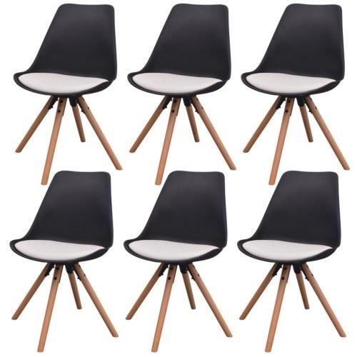 6 шт. Стулья для столовой в белой и черной искусственной коже