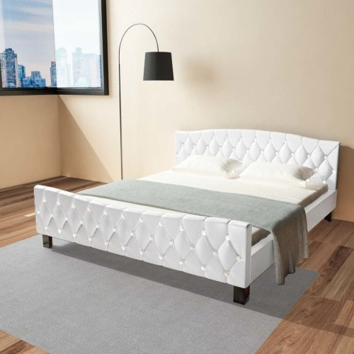double bed with white synthetic leather mattress 180x200 cm