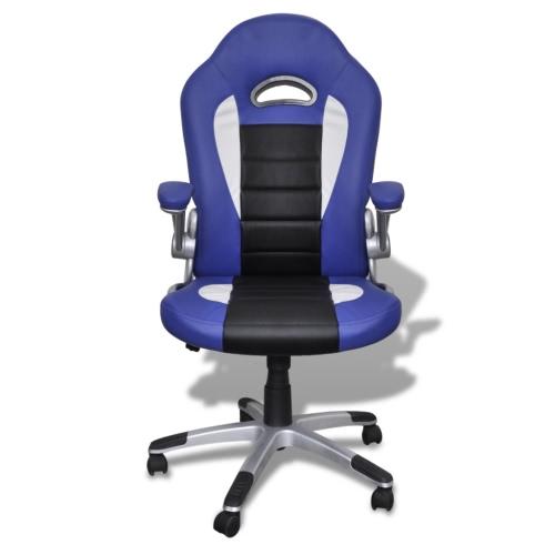 silla de oficina de color azul de la piel diseño moderno