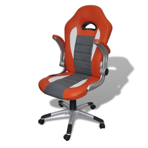 silla de oficina de cuero de color naranja diseño moderno