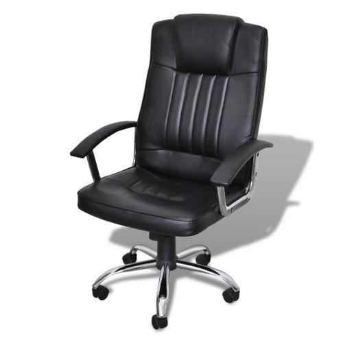 silla de oficina de diseño exclusivo de cuero negro de 65 x 66 x 107 cm -117