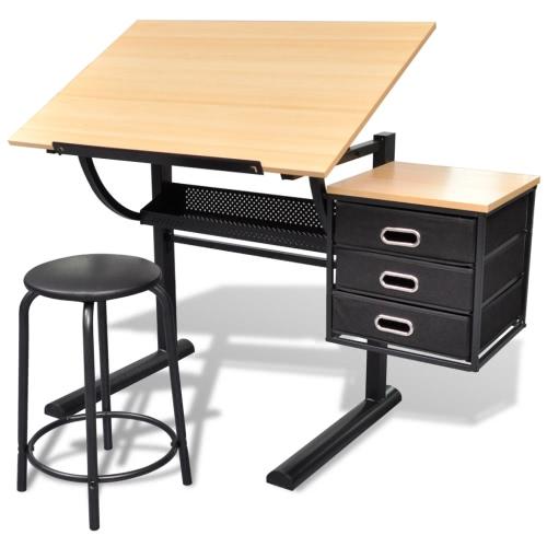 Drei Schubladen Schwenkbarer Tisch Zeichnungs-Tisch mit Hocker
