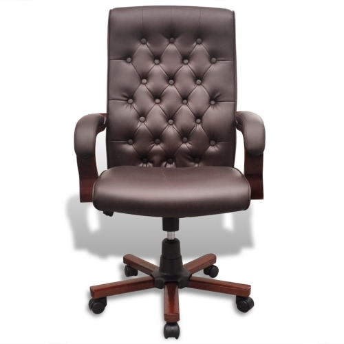 Chesterfield Office Chair Artificial Leather Brown