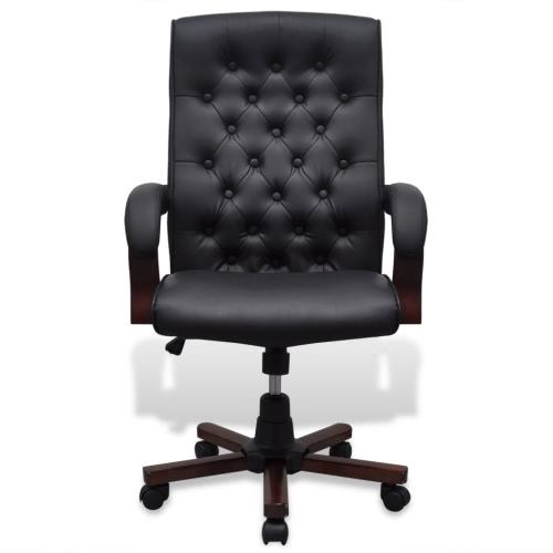 Chesterfield-Büro-Stuhl-Kunstleder-Schwarz