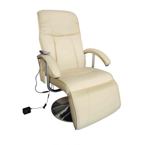 Silla reclinable eléctrico TV Masaje Crema blanca
