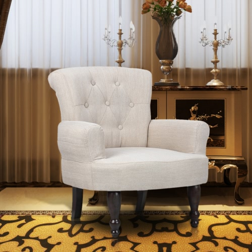 1 Stück Französisch Stuhl mit Armlehne Sand White