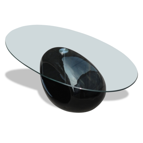 Coffee table black living room with circular base