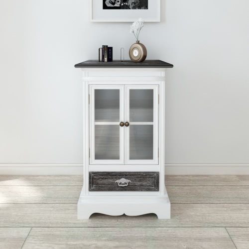 Cabinet with 2 Doors and 1 Drawer White Wood