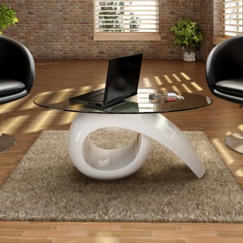 mesa de café en color blanco brillante con vidrio templado