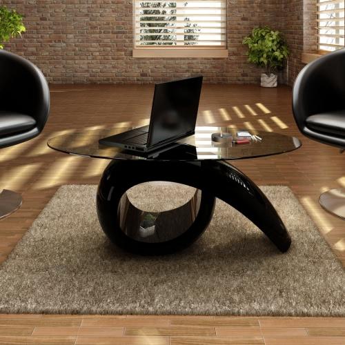 Vidrio mesa de centro superior Negro Brillante
