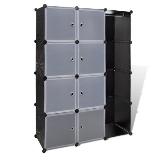 armoire Étagère avec 12 compartiments noir et blanc 37 x 115 x 150 cm