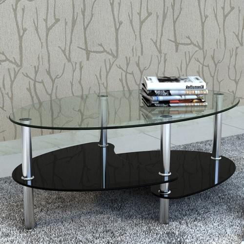Diseño exclusivo mesa de café 3 estantes Negro