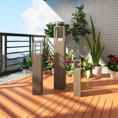 Set von 3 Gartenkerzenhalter für Außenbeleuchtung Fackel