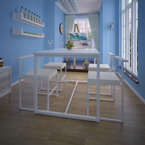 Mesa de comedor conjunto 1 Tabla 4 sillas blancas