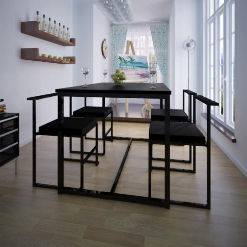 Tavolo da pranzo Set 1 Tabella 4 sedie nere